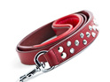 Red Studded Leather Dog Leash for Large Dogs by Rogue Royalty