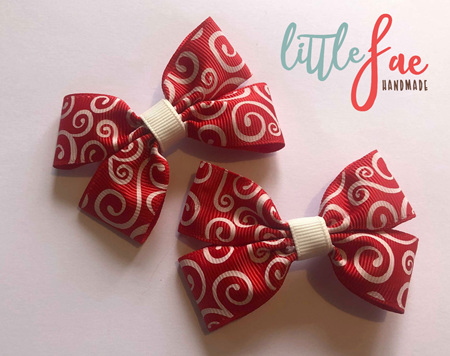 Red swirl hairbows