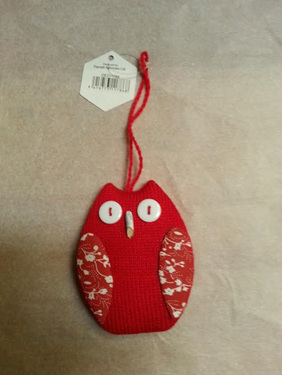 Red & white owl - hanging decoration