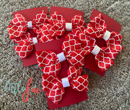 Red & White Pattern Hair Bows