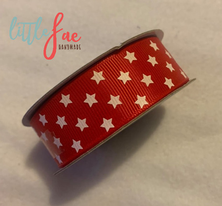Red & White Star Hair Bows