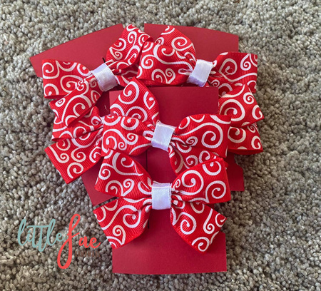 Red & White Swirl Hair Bows