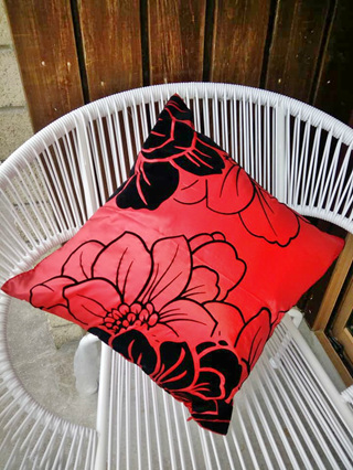 Red with Black Flower Cushion Cover *MOST POPULAR*
