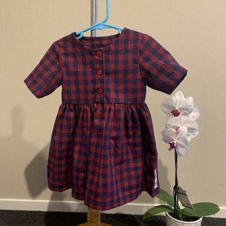 Red/Navy Linen Check, Short Sleeve dress - Size 2