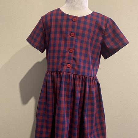 Red/Navy Linen Check, Short Sleeve dress - Size 8