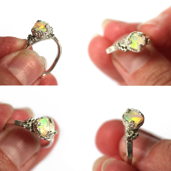 reef australian raw opal organic sterling silver coral ocean beach ring