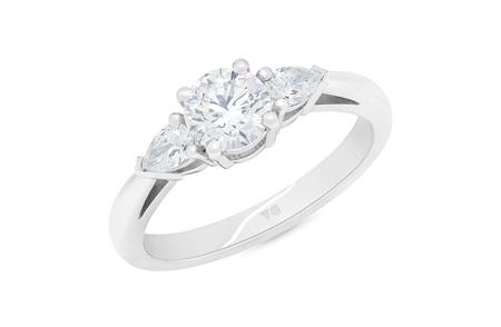 Reflect: Brilliant Cut Diamond Ring with Pear Cut Diamond Shoulders