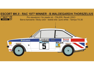 "Reji Decal - 1/24 Ford Escort RS 1800 ""British Airways"" - RAC 1977 winner"