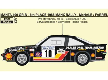 Reji Decal - 1/24 Opel Manta 400 Gr.B - 1986 Tudor Webasto Manx Rally - McHale / Farrel