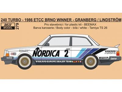 Reji Decal - 1/24 Volvo 240 Turbo - 1986 ETCC Volvo Europe Dealer Team