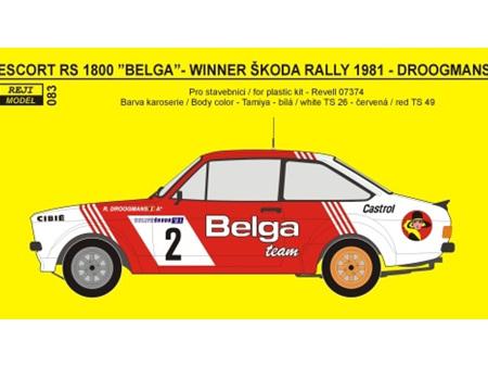 """Reji Decal - 1/24 Ford Escort RS 1800 """"Belga"""" Skoda Rally 1981"""
