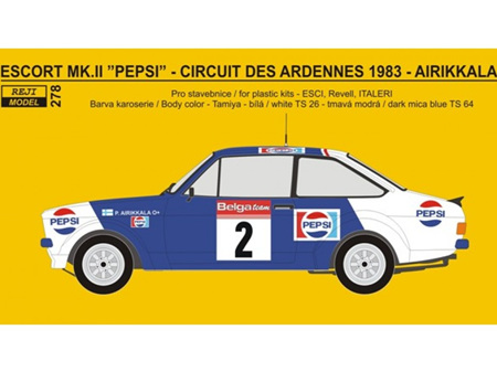 Reji Decal - 1/24 Ford Escort RS 1800 PEPSI - Circuit des Ardennes - Airikkala / Piironen