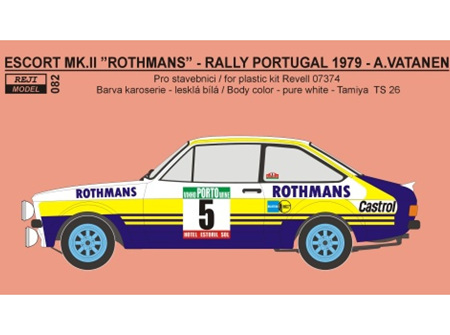 """Reji Decal - 1/24 Ford Escort RS 1800 """"Rothmans"""" Portugal rally 1979"""