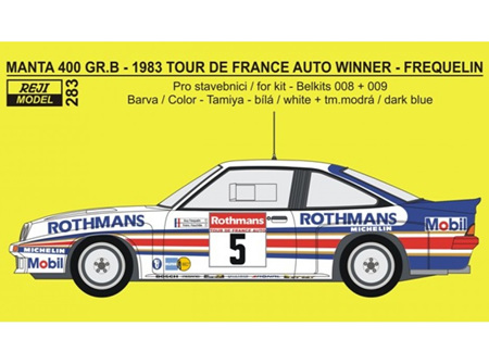 Reji Decal - 1/24 Opel Manta 400 Gr.B - 1983 Tour de France Auto Winner - Frequelin / Fauchille