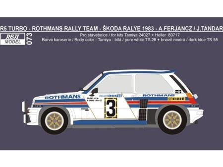"Reji Decal - 1/24 Renault 5 Turbo ""Rothmans"" - Skoda Rallye 1983 - Ferjancz / Tandari"