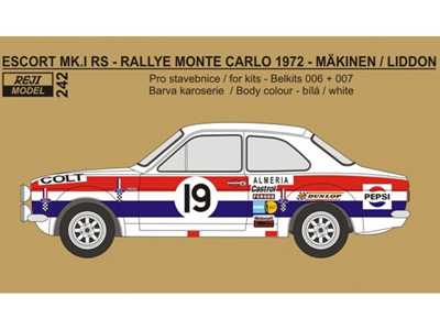 Reji Model 1/24 Decal+P/E parts - Ford Escort Mk.I - Rallye Monte Carlo 1972
