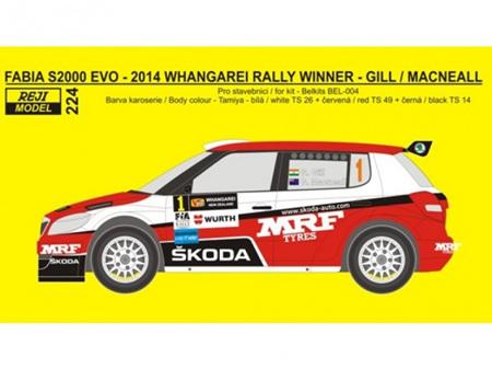 Reji Model 1/24 Skoda Fabia 2014 Whangarei Rally Winner Decals