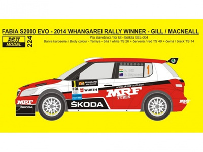 Reji Model 1/24 Skoda Fabia 2014 Whangarei Rally Winner Decals