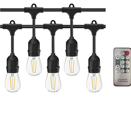 Remote Control Dimmable Weatherproof 15m  Bulb Exchangeable Festoon Lights - Warm White