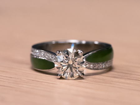 Representing Milestones: Hand Carved Pounamu and Diamond Engagement Ring Remodel