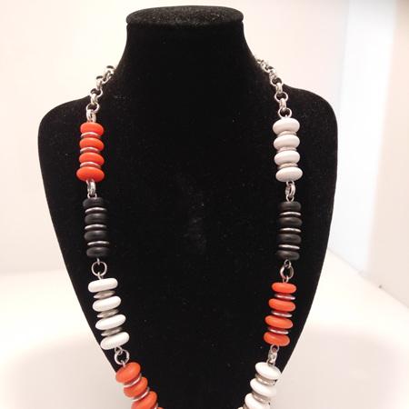 Resin Disc 3 Toned Necklace - Black, White, Orange