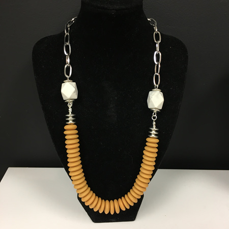 Resin Disc and Silver Necklace - Mustard & White Marble