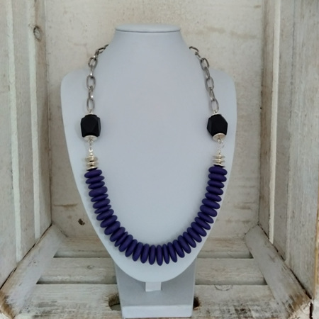Resin Disk Purple Necklace