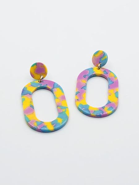 Resin Earrings - Oval Yellow, Blue & Purple
