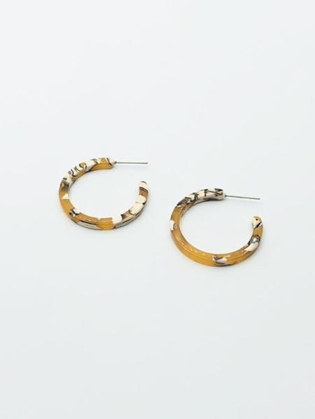 Resin Earrings - Small Hoop - Mustard Torte