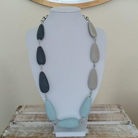 Resin Teardrop 3 Toned Necklace - Baby Blue, Dark & Light Grey