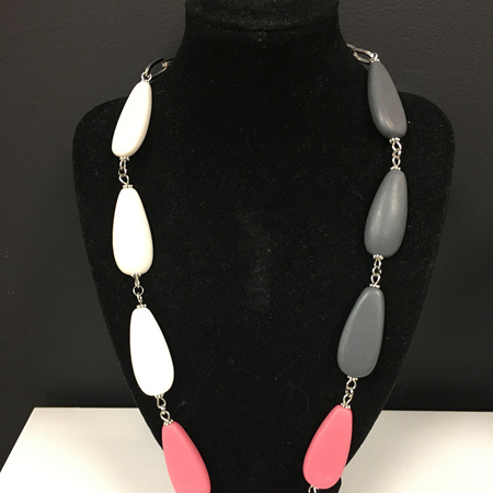 Resin Teardrop 3 Toned Necklace - Dusky Pink, White & Dark Grey