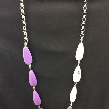 Resin Teardrop 3 Toned Necklace - Purple, Dark Grey & White Marble