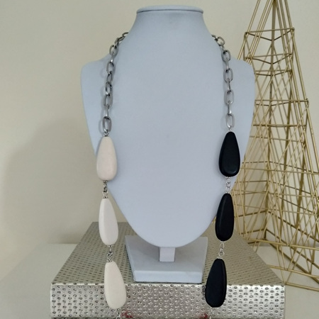 Resin Teardrop 3 Toned Necklace - Red, Black & White