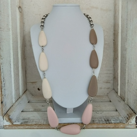 Resin Teardrop 3 Toned Necklace - White, Pink & Stone