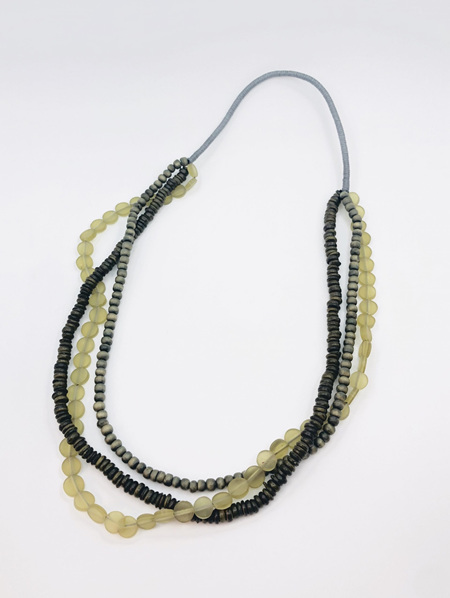 Resin & Wood Multi String Beads - Olive Green
