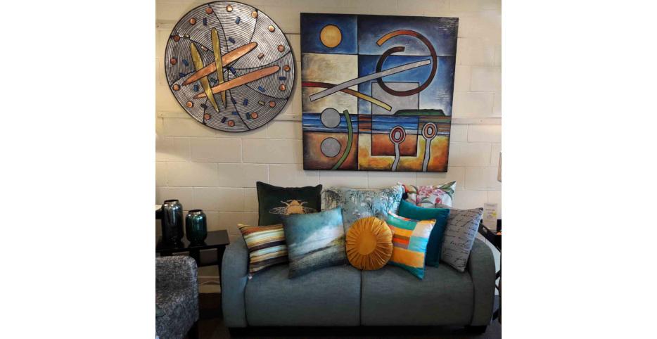 Puma Sofa, Art 'Oriental Brass' & 'The Bay'
