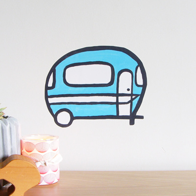 Retro Caravan wall decal