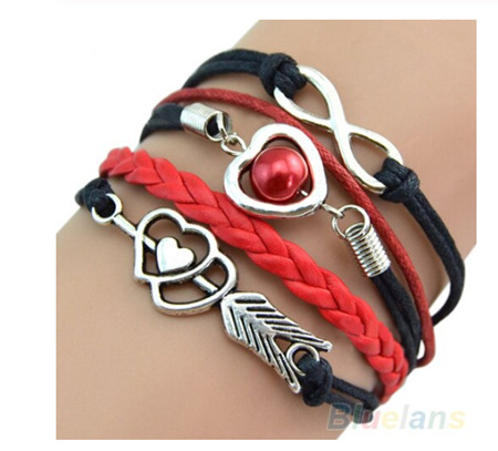 Retro Cupid's Arrow Leather Bracelet - Black & Red Mix