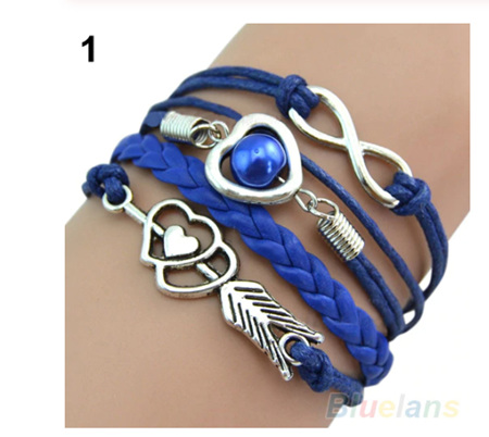 Retro Cupid's Arrow Leather Bracelet - Dark Blue
