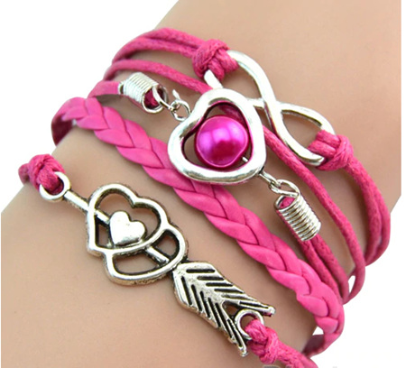Retro Cupid's Arrow Leather Bracelet - HOT PINK