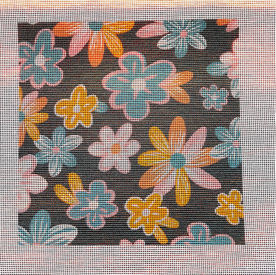 Retro flowers needlepoint canvas