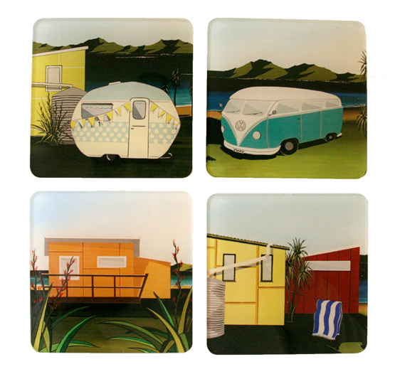 Retro Kiwiana caravan, VW Combi, orange Bach and yellow Bach Coasters.
