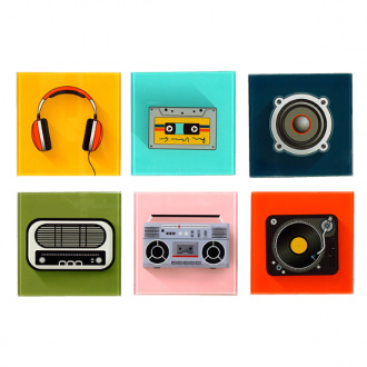 Retro look music icons coasters - glass set of 6