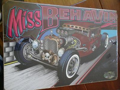 Retro Tin Sign - Miss Behavin Hot Rod