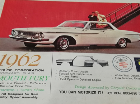 Revell 1/25 1962 Plymouth Fury - Rare Vintage Kit