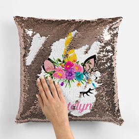 Unicorn Reversible Sequin Cushion-Personalised