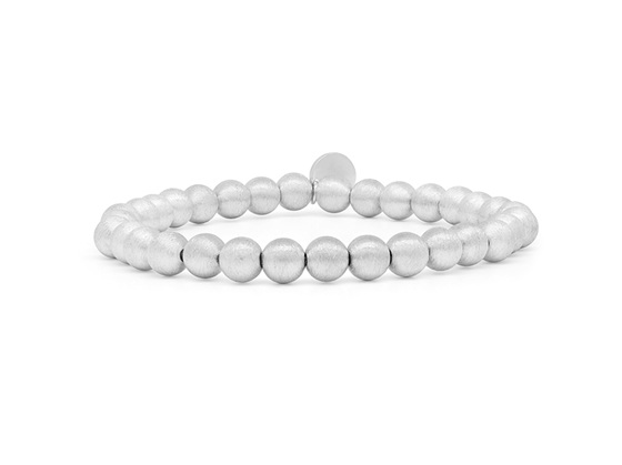 Rhodium Plated Brushed Ball Bracelet