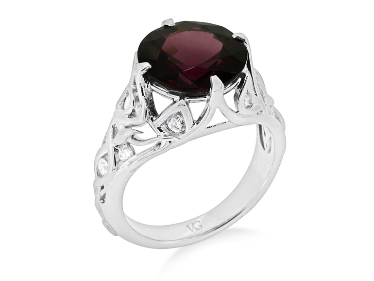 rhodolite garnet and diamond ladies 18 ct white gold dress ring