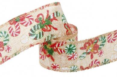 Ribbon Poly Jute Christmas Candy Cane 10m