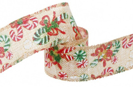 Ribbon Poly Jute Christmas Candy Cane 10m
